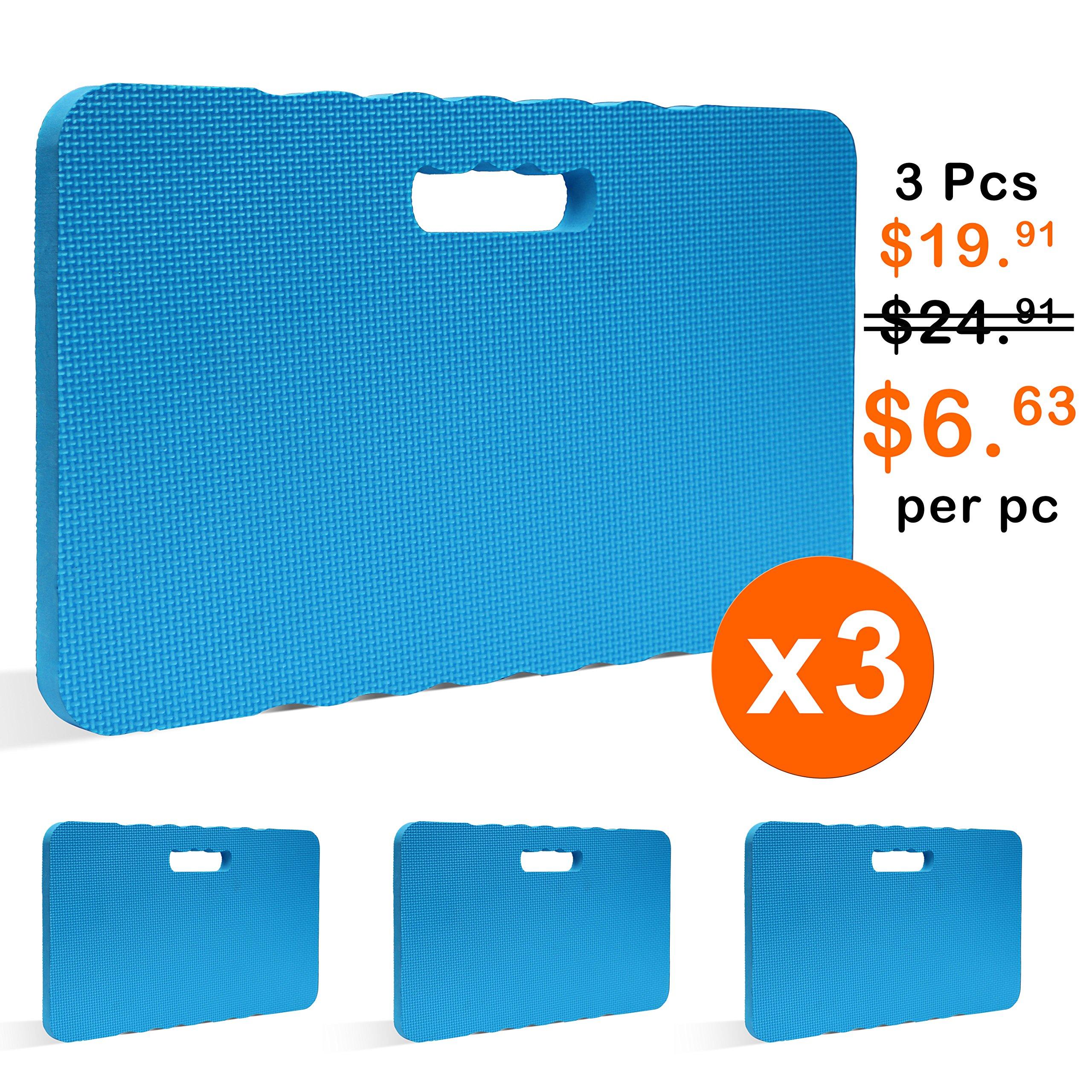 Gardzen 3 Pack Garden Kneeling Pad - For Gardening, Baby Bath, Yoga, Pilates, Exercise, 18''x11''x1'', Blue