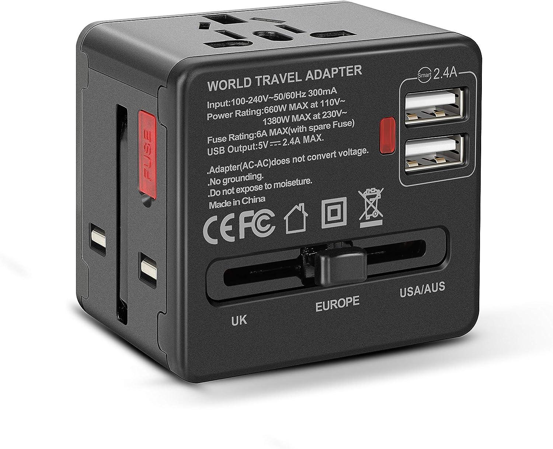 Etlephe Enchufe Adaptador Universal de Viaje, Adaptadores Internacionales con 2 USB para Americano Europeo Ingles Japón Chino Acerca de 150 Países, 100v-240v 6A