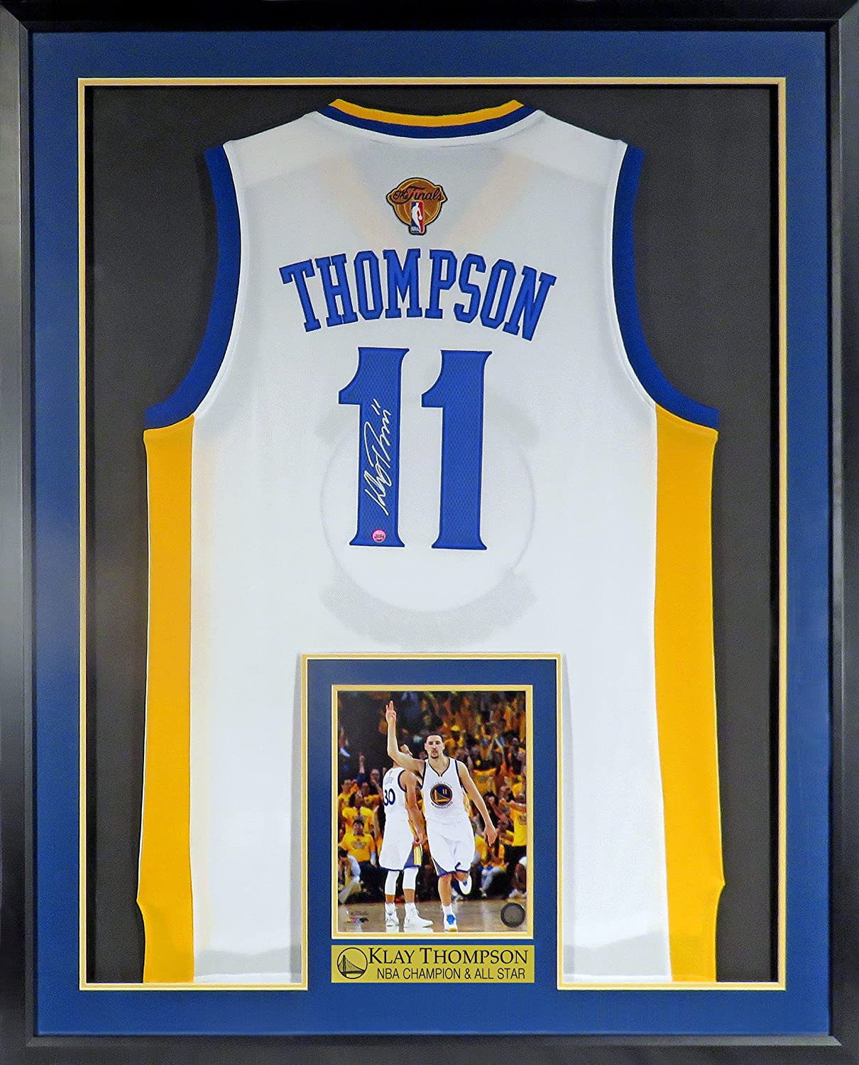 cheaper 62287 66079 GS Warriors Klay Thompson Autographed Home Jersey w/ Finals ...