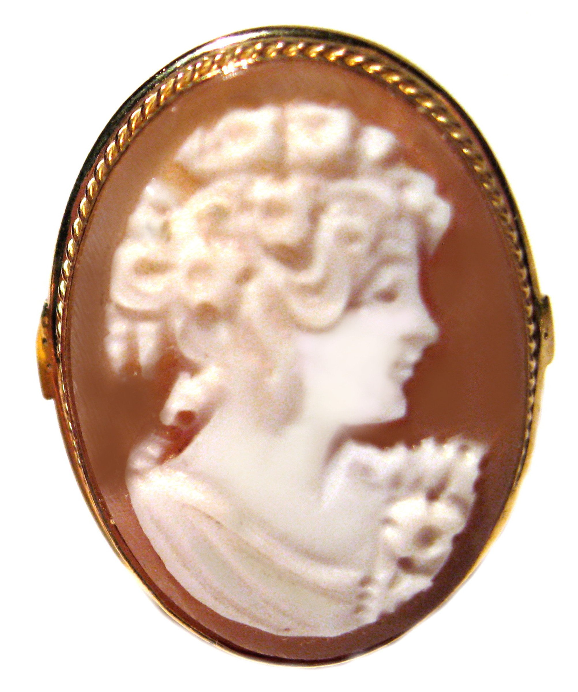 Cameo Ring Summer Dream Master Carved, Sardonyx Shell Sterling Silver 18k Gold Overlay Size 7.5