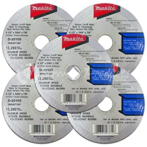 Makita 5 Pack - 4.5 Cut Off Wheels For Grinders - Aggressive Cutting For Metal & Stainless Steel/INOX - 4-1/2 x .045 x 7/8-Inch | Flat Cutting Wheels (Color: Blue, Tamaño: 5 Pack | Metal | Aggressive Cut)