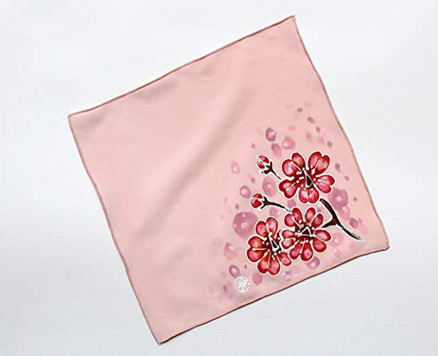 bc53f3144227 SALE!!!15% OFF Cherry Blossom Silk Pocket Square Women Hand Painted Silk  Pocket Square Great as a pocket square or Silk Handkerchief for Men or ...