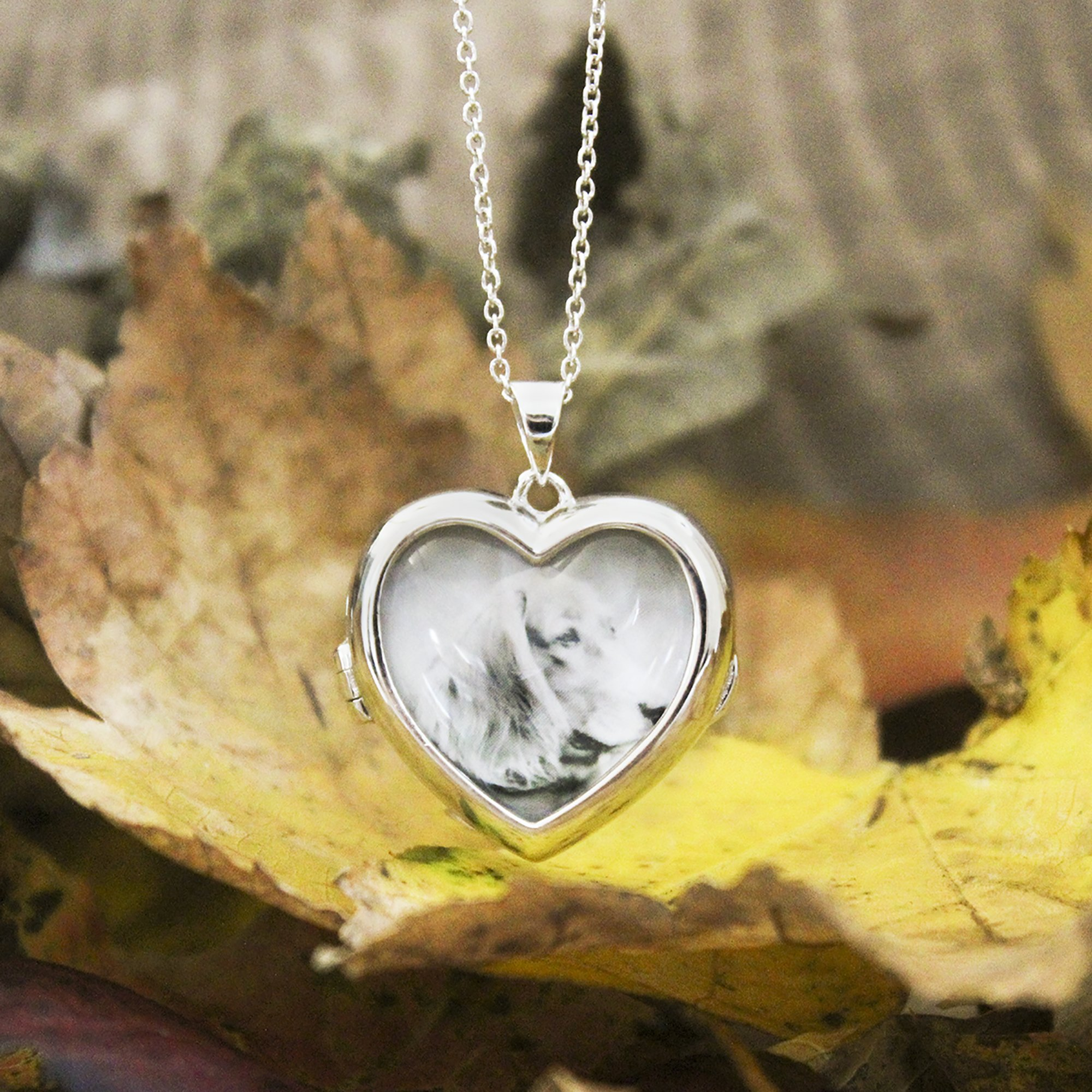 Sterling Silver-Glass-Custom Photo Locket Necklace-34-inch chain-The Nina by With You Lockets by With You Lockets (Image #3)