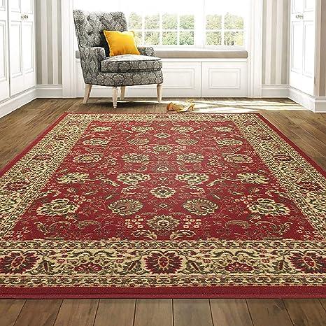 Amazon Com Ottomanson Oth2130 8x10 Ottohome Floral Rug Dark 8 2 X 9 10 Red Persian Home Kitchen