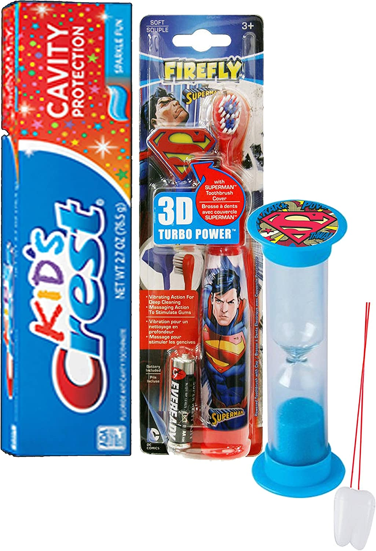 "Super Hero Inspired 4pc Bright Smile Oral Hygiene Set! Superman Turbo Powered Toothbrush, 3D Brush Cap, Brushing Timer & Crest Kids Toothpaste! Plus Bonus ""Remember to Brush"" Visual Aid!"