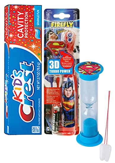 Super Hero Inspired 4pc Bright Smile Oral Hygiene Set! Superman Turbo Powered Toothbrush, 3D