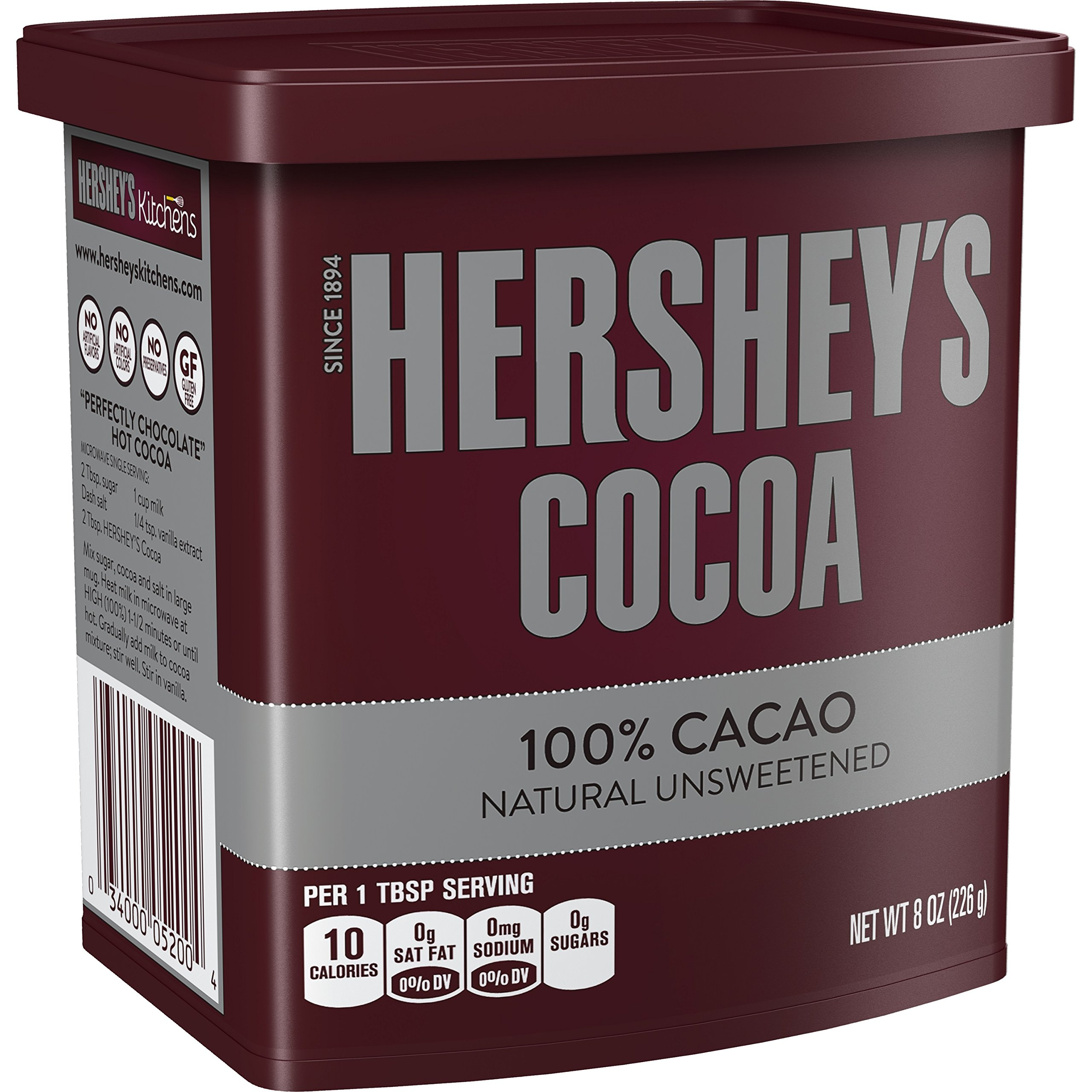 HERSHEY'S Natural Unsweetened 100% Cocoa, Holiday Baking, Hot Cocoa, 8 Ounce Can (Pack of 6)