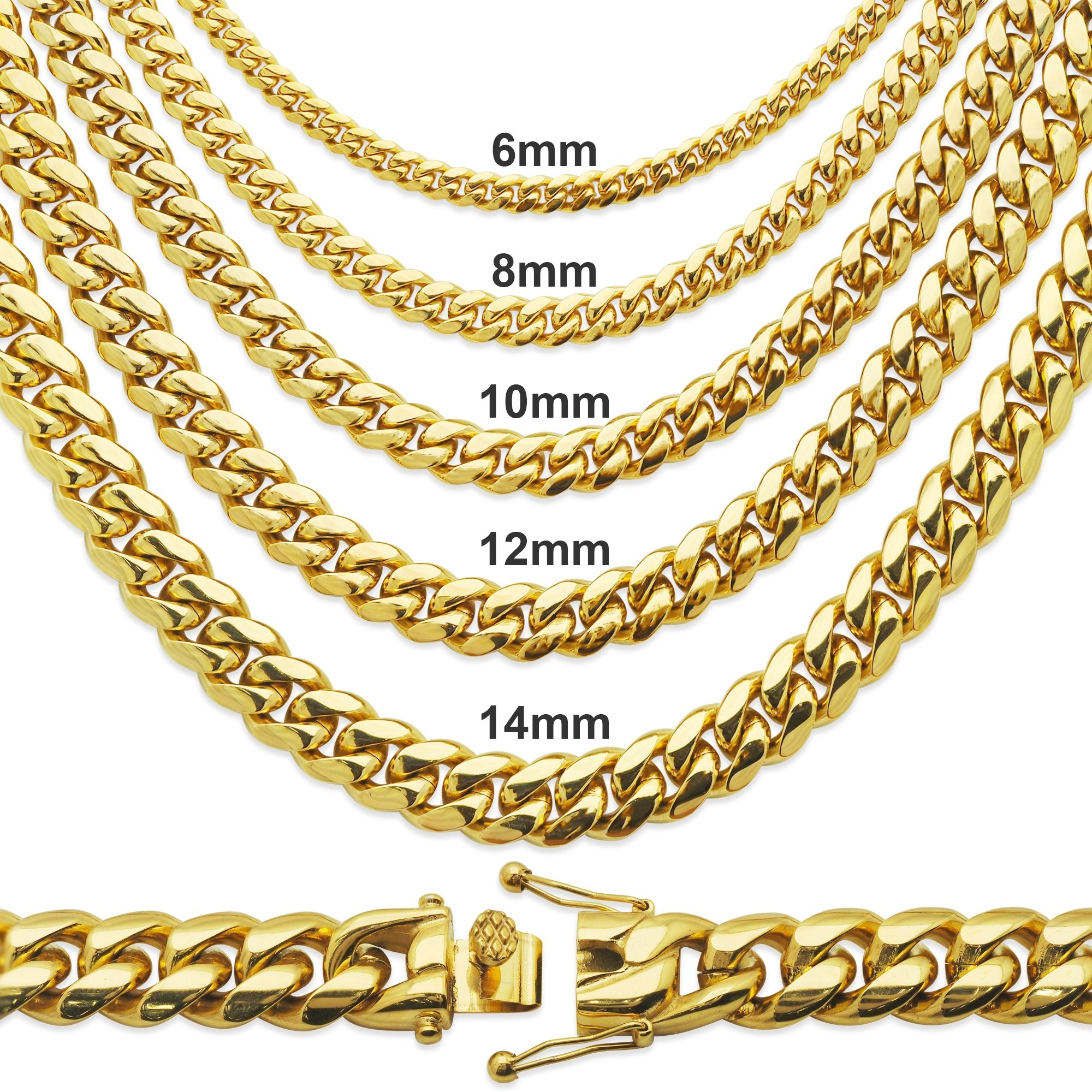 Premium 14KT Gold Plated Stainless Steel Heavy Solid Miami Cuban Link Chain. Secure Box Lock. 30'' Necklace or 8.5'', 9'' Bracelet