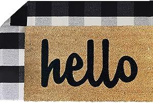 """Sierra Concepts Pure Coco Coir Front Door Hello Welcome Mat Outdoor Rug 30""""x17"""" + Buffalo Plaid Rug Farmhouse Checkered Layered Black White Floor Porch Decor Set Non Slip Entryway Indoor Outdoors Mats"""