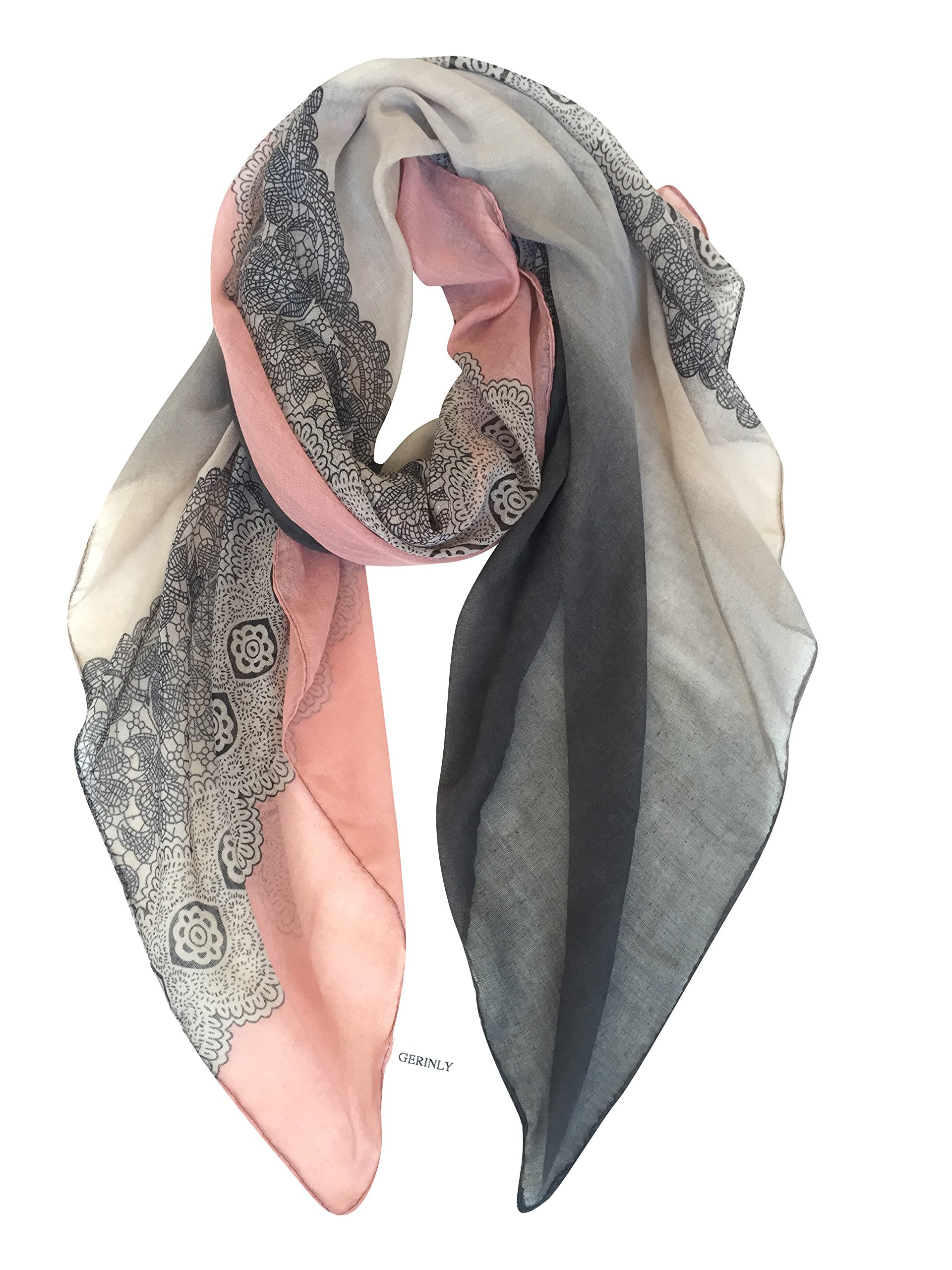 GERINLY Cozy Lightweight Scarves: Fashion Lace Print Shawl Wrap For Women (DarkGrey+LightPink)