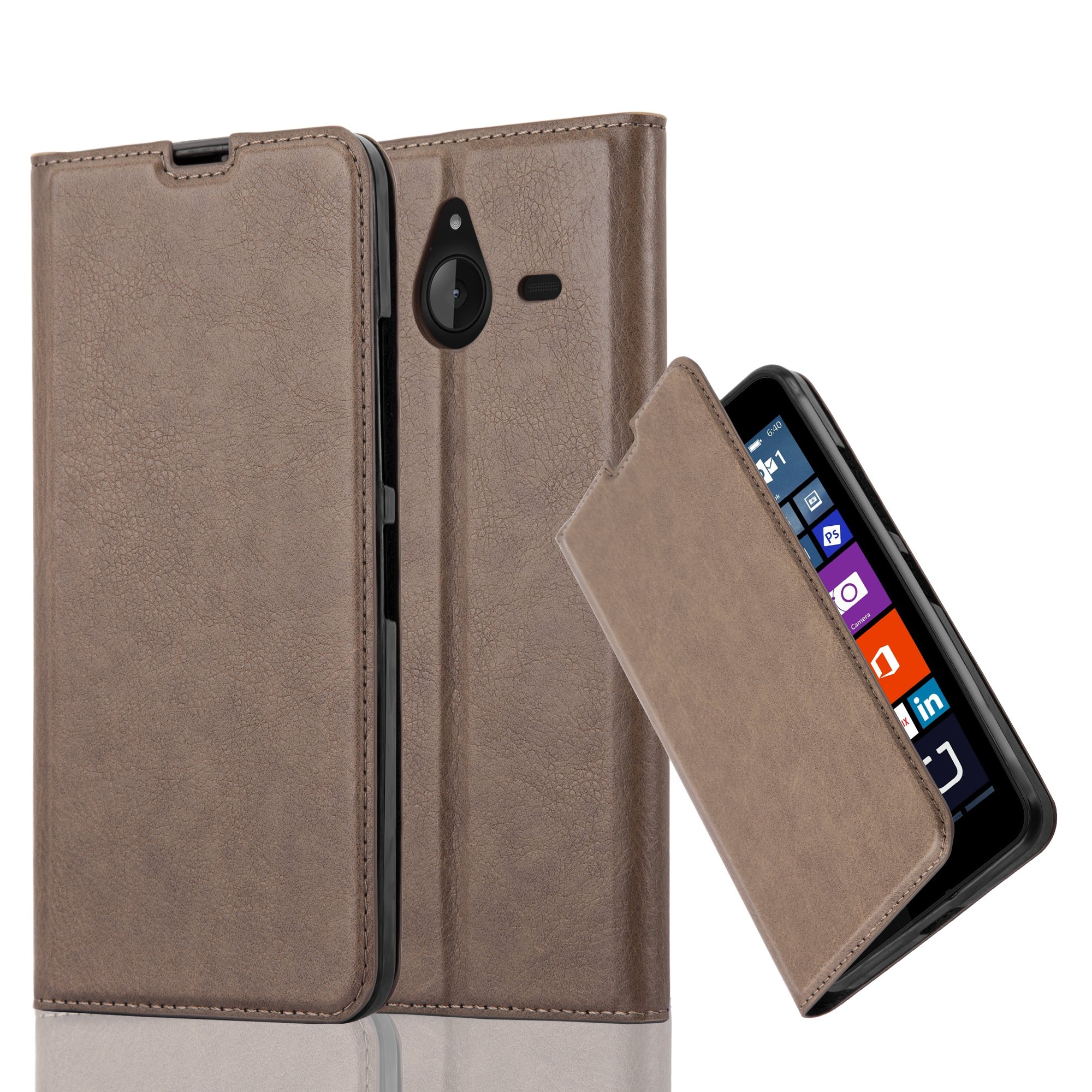 Cadorabo Case works with Nokia Lumia 640 XL Book Case in COFFEE BROWN (Design INVISIBLE CLOSURE) – with Magnetic Closure, Stand Function and Card Slot – Wallet Case Etui Cover PU Leather