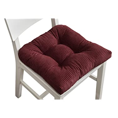 Arlee Memory Foam, Non-Skid Seat Cushion, Set of Two (2) Chair Pad, Burgundy Red, 2 Piece