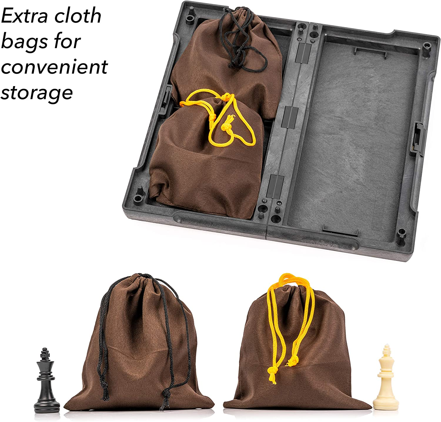 Portable and Educational Kids Adults Travel Toy Board Game Magnetic Chess Set Brisk Learner Free Guide and Rules for Beginners Foldable Table and 2 Cloth Bags Perfect for Storage and Traveling
