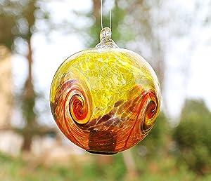 Artisan Crafts and Design 4.6-Inch Solar Hanging Glass Gazing Ball Outdoor Garden Décor Yellow-Orange Swirl