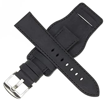 02f91ebacf3 Image Unavailable. Image not available for. Color  24mm German Military  Aviator Watch Strap Swiss Army Black Leather Cuff Watch Band ...