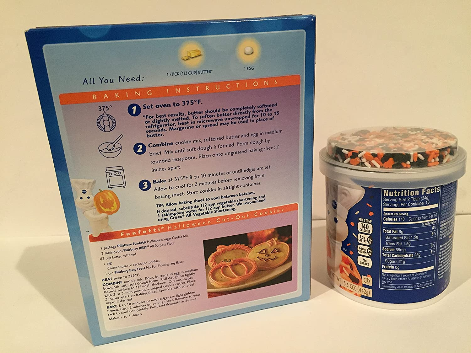 amazoncom pillsbury halloween funfetti sugar cookie mix with candy bits 175 oz and halloween funfetti frosting vanilla wsprinkles
