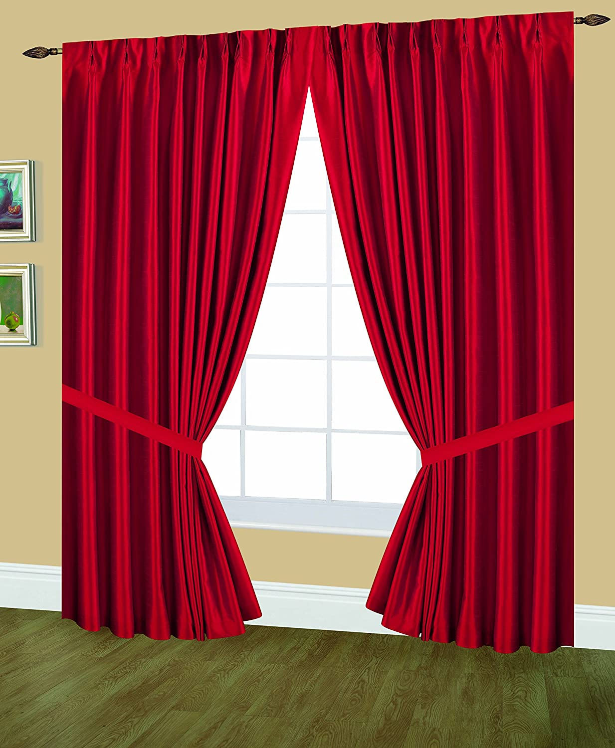 Red 48 by 84-Inch Editex Home Textiles Elaine Lined Pinch Pleated Window Curtain