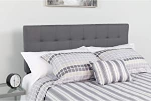 Flash Furniture Bedford Tufted Upholstered Queen Size Headboard in Dark Gray Fabric