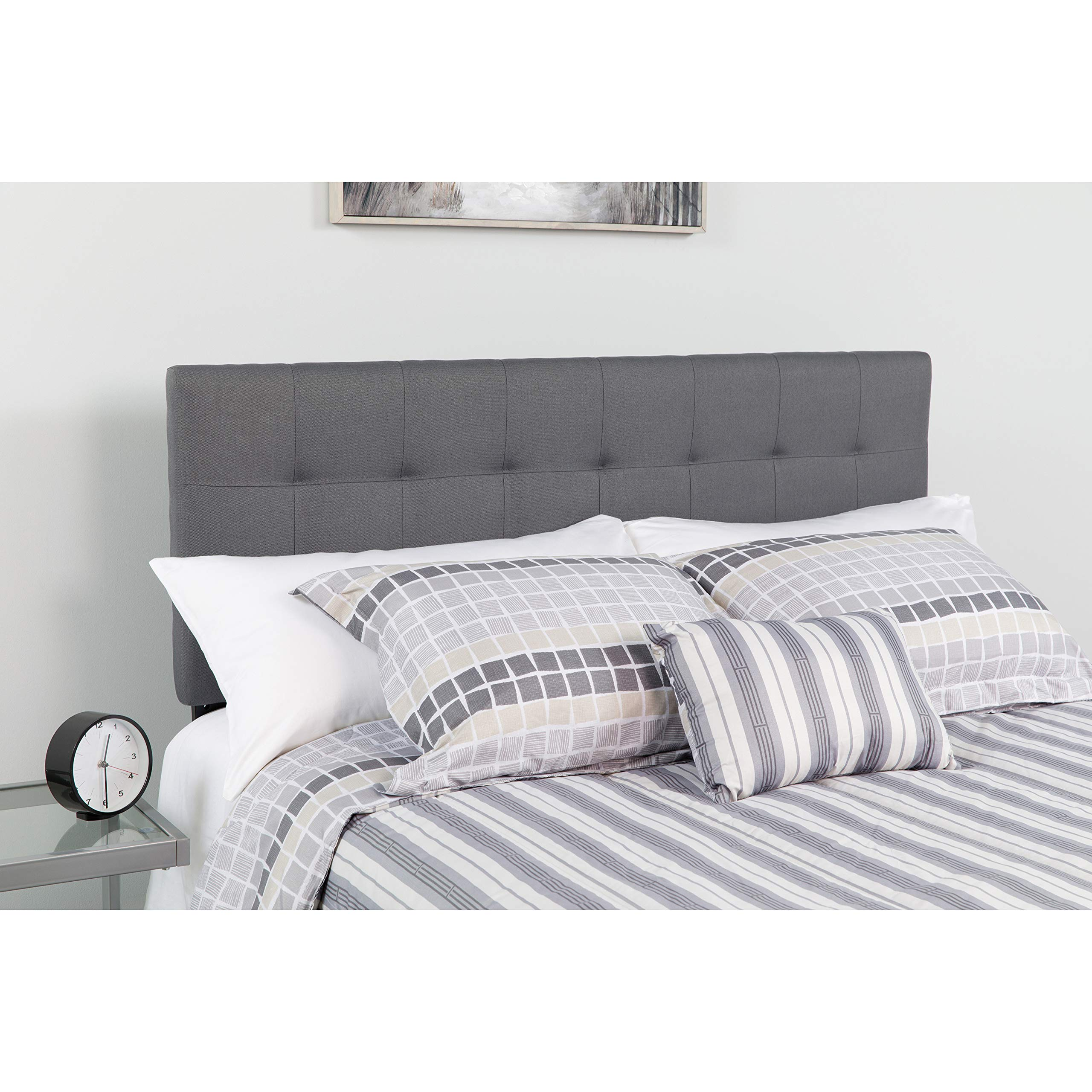 Flash Furniture Bedford Tufted Upholstered King Size Headboard in Dark Gray Fabric by Flash Furniture
