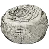 Christopher Knight Home Laraine Furry Glam White and Grey Streak Faux Fur 3 Ft. Bean Bag