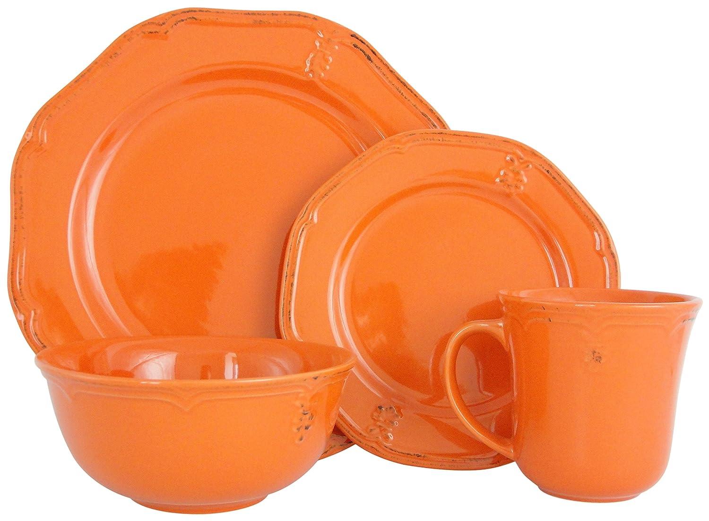 Melange Stoneware 16-Piece Dinnerware Set (Antique Orange) | Service for 4| Microwave, Dishwasher & Oven Safe | Dinner Plate, Salad Plate, Soup Bowl & Mug (4 Each)