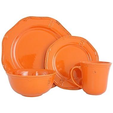 Melange Stoneware 32-Piece Dinnerware Set   Antique Orange Collection   Service for 8  Microwave, Dishwasher & Oven Safe   Dinner Plate, Salad Plate, Soup Bowl & Mug (8 Each)