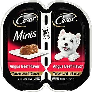 CESAR Minis Wet Dog Food Tender Loaf in Sauce, Angus Beef Flavor, (24) 2.64 oz. Easy Peel Twin Pack Trays