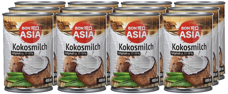 Bonasia Leche de Coco, Contenido de Grasa 17-19% - Paquete de 12 x 400 ml - Total: 4800 ml: Amazon.es: Alimentación y bebidas