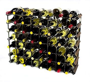 Klassische 72 Flasche Eiche dunkel gebeiztem Holz und verzinktem Metall Weinregal Selbstmontage