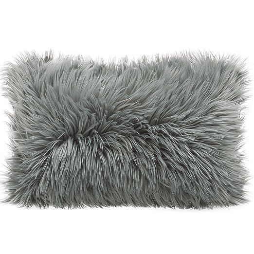 Cojín de pelo largo de CelinaTex, de pelo de oveja de imitación, tela, gris, Kissen 40 x 60 cm