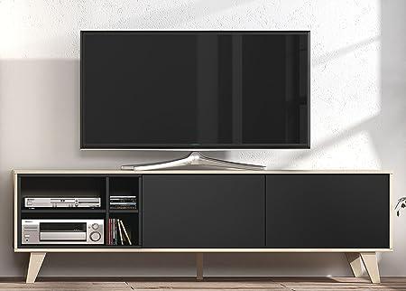 Abitti Mueble de TV Multimedia para Salon, Comedor, módulo bajo en Color Roble y Grafito, 54x180x41cm: Amazon.es: Hogar