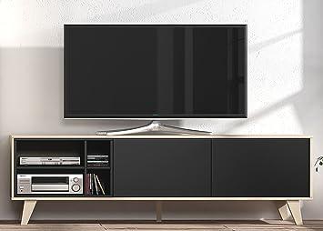 Superior Mueble De TV Multimedia Para Salon, Comedor, Módulo Bajo En Color Roble Y  Grafito