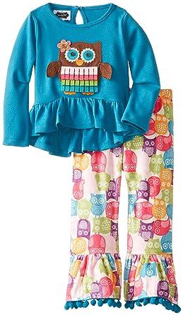 0522fba1c39 Amazon.com  Mud Pie Little Girls  Owl Disco Pant Set  Clothing