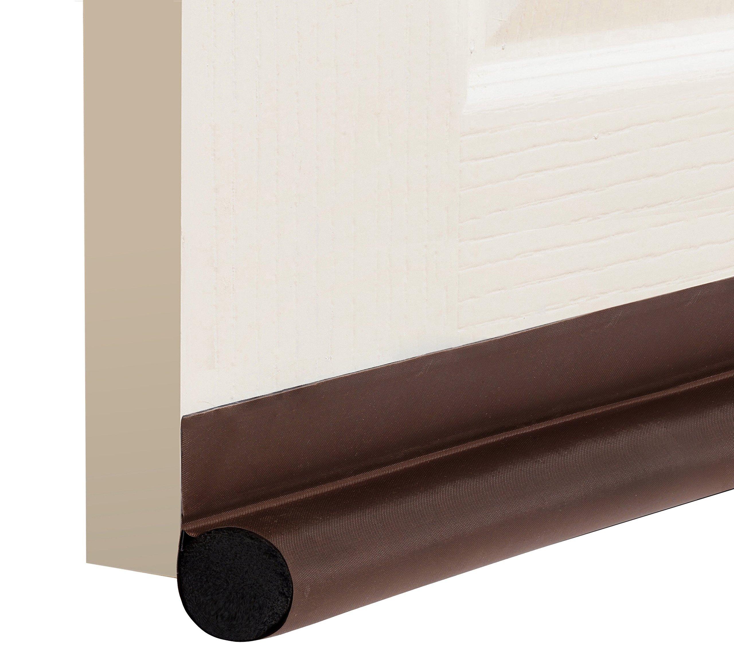 """DeeToolMan Under Door Draft Stopper 36"""": One Sided Door insulator/Velcro Self-Adhesive Seal Fits To Bottom Of Door/Under Door Draft Blocker/Door Weather Strip(Brown)"""