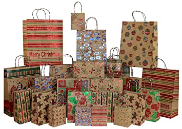 iconikal foil glitter kraft christmas gift bags 24 count 6 xl