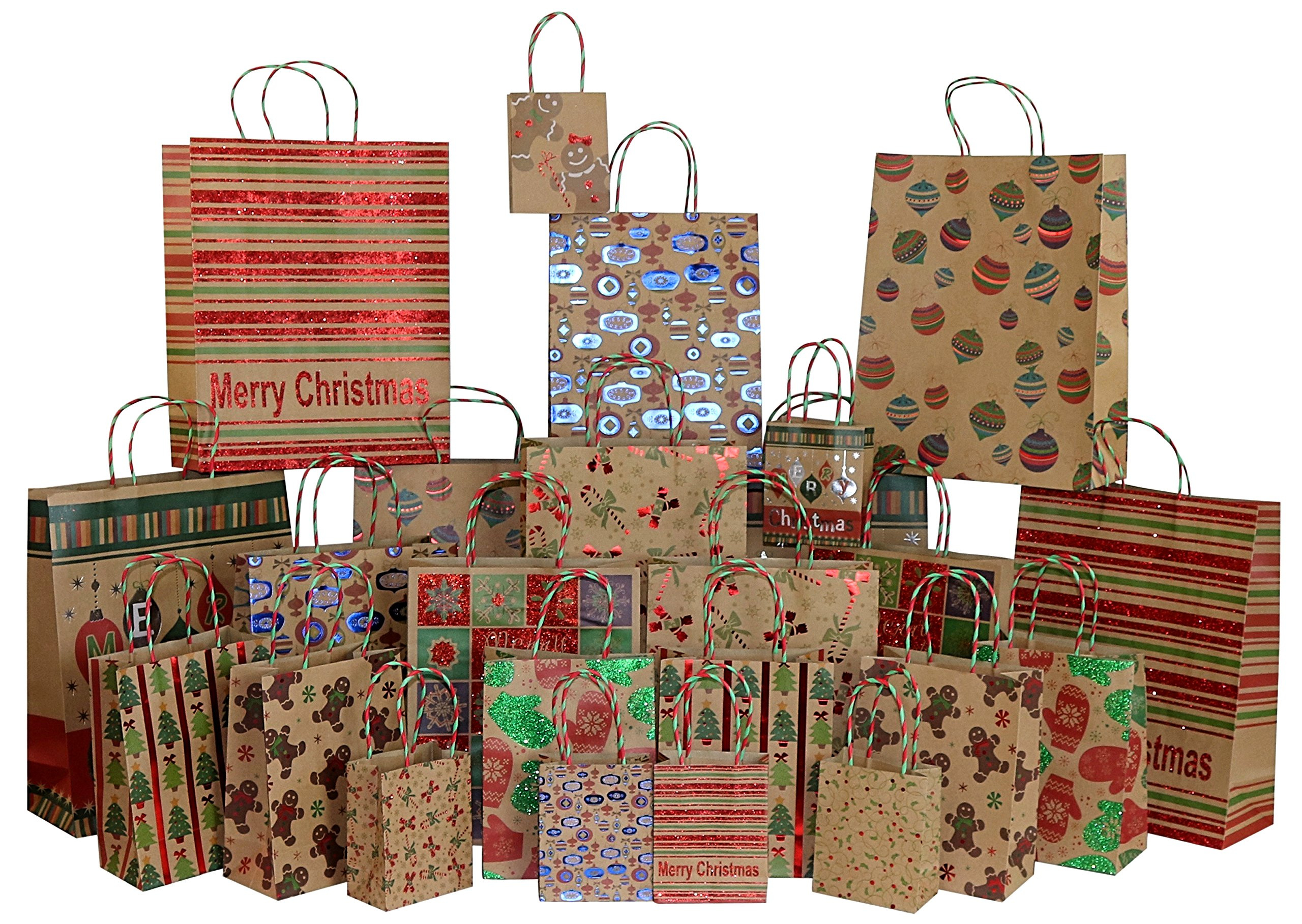 482192482 Amazon.com: Iconikal Foil & Glitter Kraft Christmas Gift Bags, 24-Count, 6  XL, 6 Large, 6 Medium, 6 Small: Health & Personal Care
