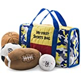 Prextex My First Sports Bag Playset with Stuffed Plush Basketball, Baseball, Soccer Ball and Football Great Gift Toy for…