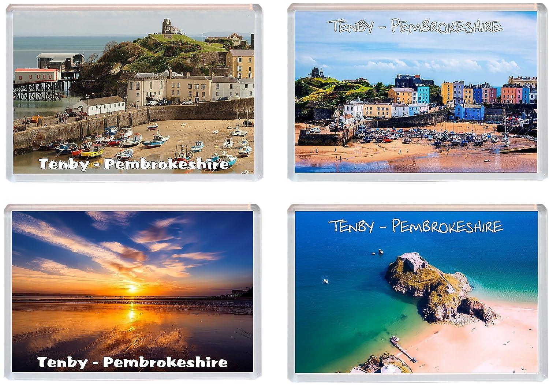 Souvenir Gift Present Pembrokeshire Fridge Magnet//Magnets 4 PACK Tenby