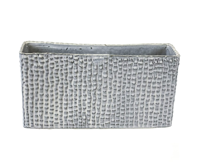 Gray Ceramic Sagebrook Home 11855 Ceramic Dimpled Vase 9.5 x 2.5 x 5.25 Inches