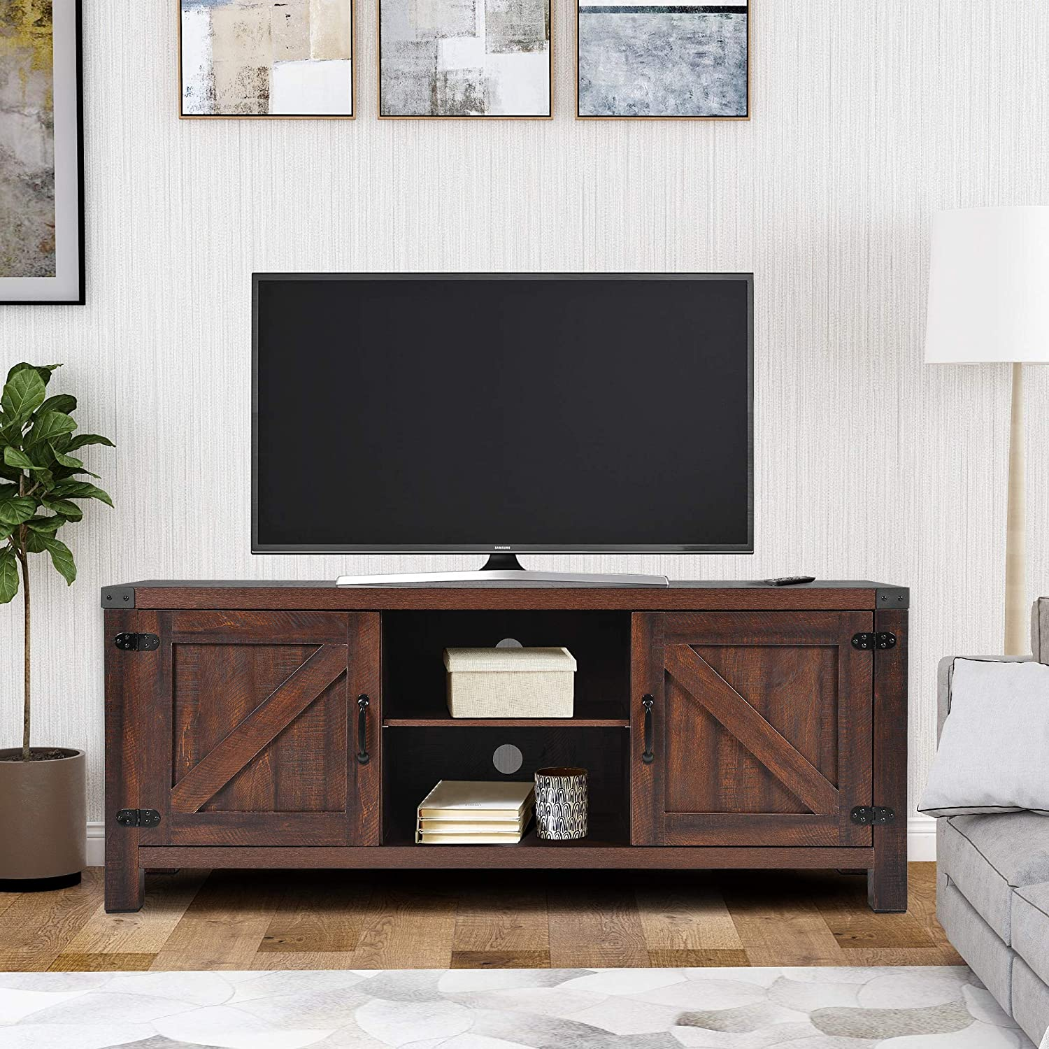 LENTIA 58 Inch Barn Door TV Stand for TVs up to 65 , TV Media Stand Table Entertainment Center Media Console with Adjustable 3 Layer Shelves, Brown Wood Grain