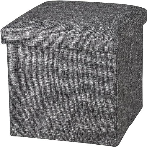 NISUNS OT01 Linen Folding Storage Ottoman Cube Footrest Seat