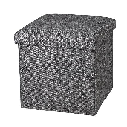 Incredible Nisuns Ot01 Linen Folding Storage Ottoman Cube Footrest Seat 12 X 12 X 12 Inches Linen Gray Creativecarmelina Interior Chair Design Creativecarmelinacom