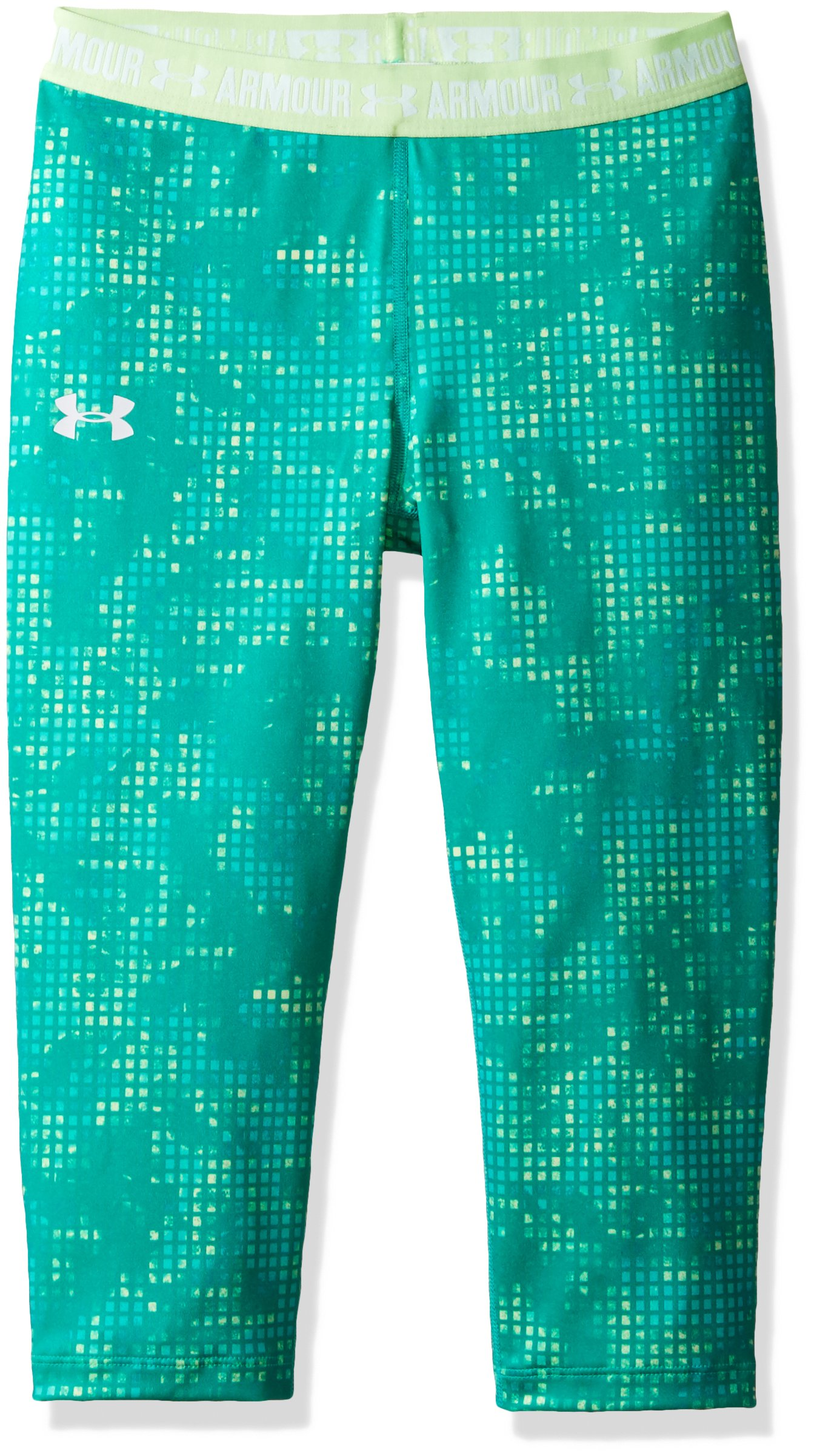 Under Armor Girls Heatgear Armour Printed Capris,Summer Lime/White, Youth X-Large