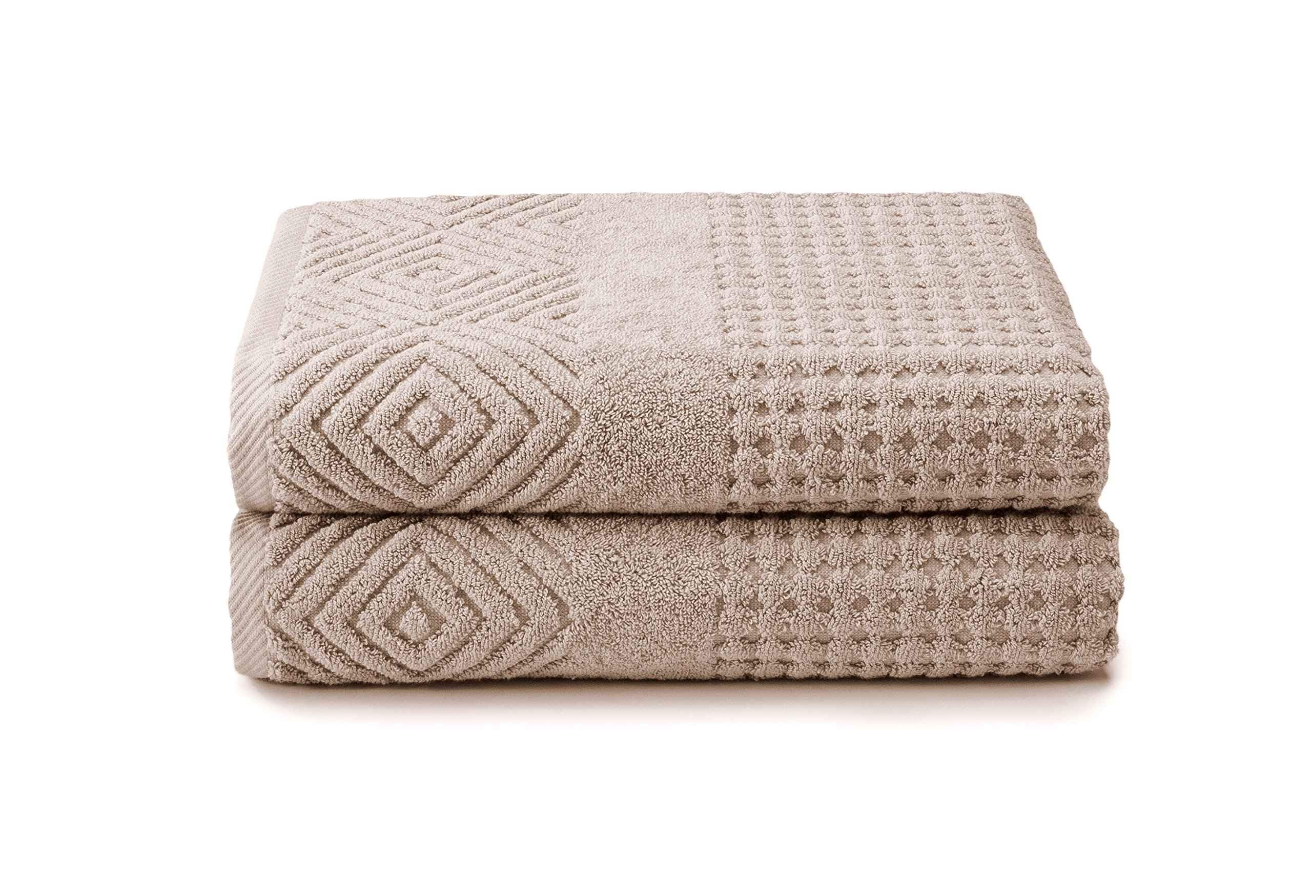 100% Organic Cotton 2 Pack Bath Towels - Best Home Gift by Texere (Aloe, 2-Pack, Oxford Tan) Elegant Comfortable Bath Towels for Home TX-HC223-001-OXTN-R-2
