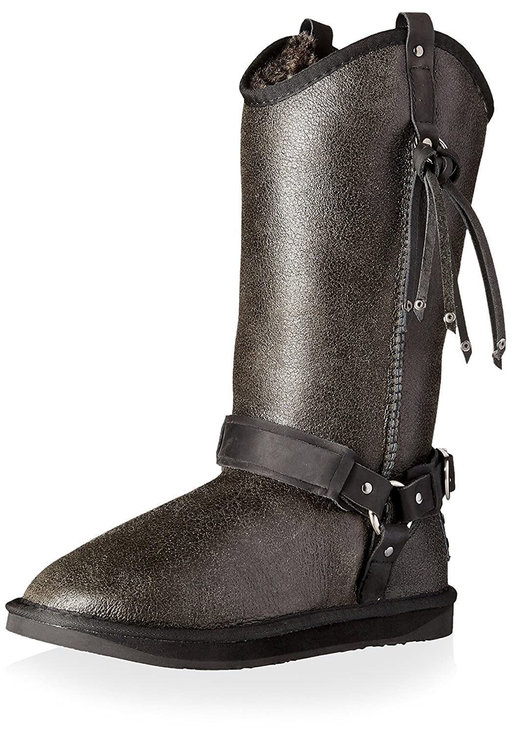 Australia Luxe Collective Women's Long Sheepskin Boot with Harness and Fringe B0114MSURM 39 M EU/8 M US|Distressed Black