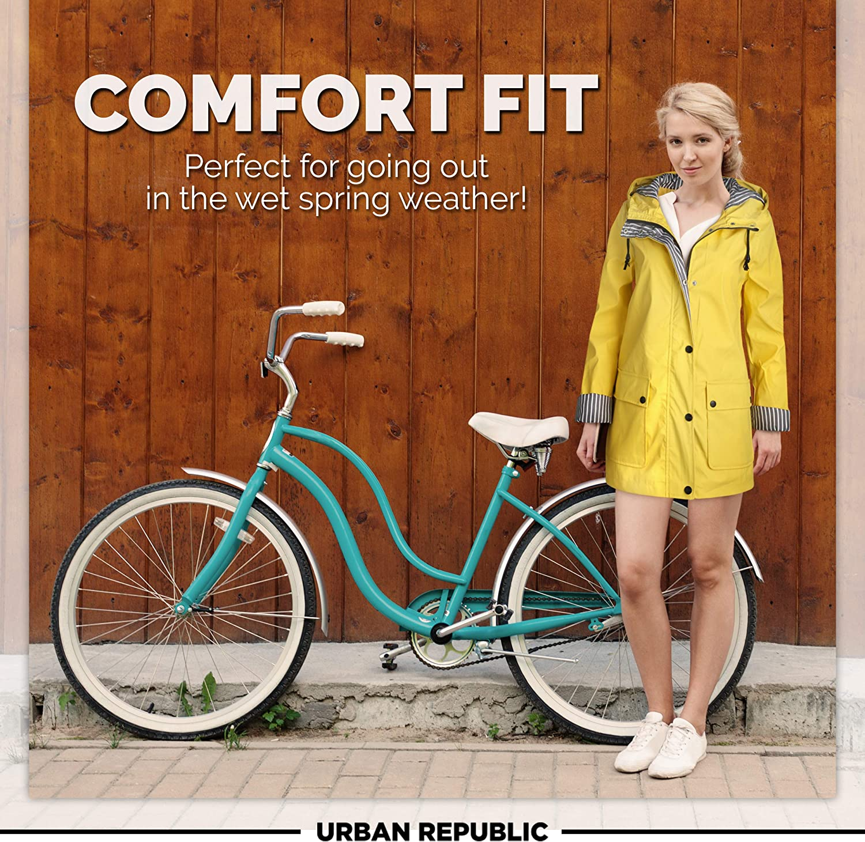 URBAN REPUBLIC Womens Lightweight Vinyl Hooded Raincoat Jacket 3X Soft Yellow