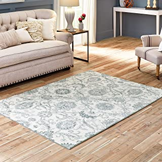 product image for Maples Rugs Blooming Damask Area Rugs Carpet for Living Room & Bedroom [Made in USA], 5 x 7, Grey/Blue