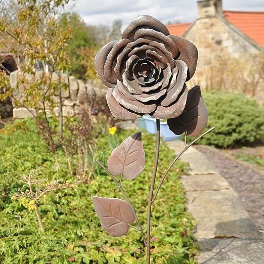 Decorativo Rústico Rosa de Metal para el Jardín Decoración, Arte Floral Regalo para Amantes de la Jardinería 31x11x119cm: Amazon.es: Jardín