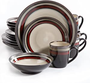 Gibson Overseas, Inc. Lewisville dinnerware, 1, Cream/Red