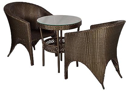 FurniFuture™ Eiffel Outdoor Patio Furniture Set 2+1 - (Golden Brown)